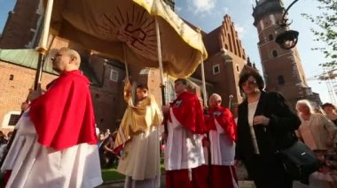 During the celebration the Feast of Corpus — Stock Video
