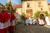 During the celebration the Feast of Corpus — Stock Photo