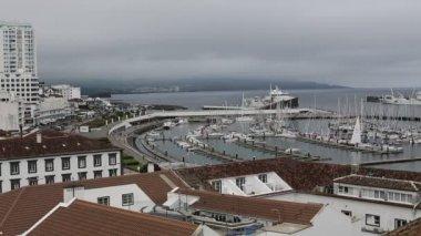 Top view of Marina of Ponta Delgada — Stock Video