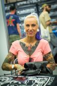 Participant at International Tattoo Convention — Stock Photo