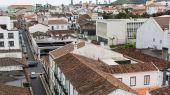 Top view of center of Ponta Delgada — Stock fotografie