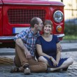 Couple in love near vintage car — Stock Photo #77173571