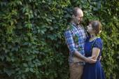 Couple in love standing outdoors — Stock Photo