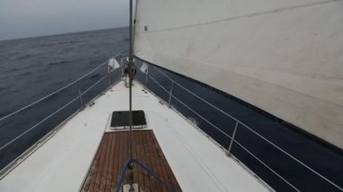 Racing yacht in Mediterranean sea — Stock Video