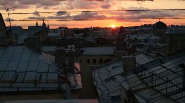 Rooftops in the center of Saint Petersburg — Stock Video