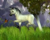 Cute Toon Unicorn with Woodland Background — Foto Stock
