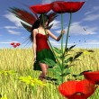 Red Poppy Fairy with Cornfield Background — Stock Photo #55006475