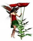 Red Poppy Fairy — Stock Photo
