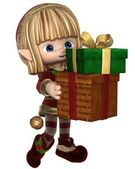 Cute Toon Christmas Elf Carrying Presents — Stock Photo