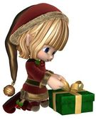 Cute Toon Christmas Elf Wrapping a Present — Stock Photo
