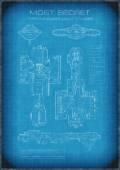 Top Secret Spaceship Blueprint with Text — Stock Photo