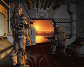 Space Marines arriving on a Red Planet — Stock Photo