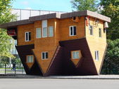 VDNH, Exhibition of Achievements,Moscow. A house upside down. September, 2014. — Stock Photo