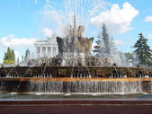 """VDNH, Exhibition of Achievements,Moscow. Fountain """"Stone flower"""" (1954). September, 2014. — Stock Photo"""