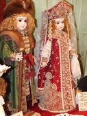 Antique dolls. Crafts. Collectible author's dolls. The 10th International Dolls Salon, Moscow. October, 2014. — Stock Photo