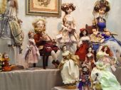 Crafts. Collectible author's dolls. The 10th International Dolls Salon, Moscow. October, 2014. — Stock Photo