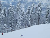 "Skigebiet ""Gornaja Karusel"" (""Berg Karussell""), 1500 m, Krasnaya Polyana, Sotschi, Russland. Januar 2015.. — Stockfoto"