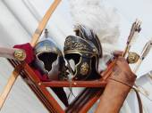 "Armour at the international festival ""Times and epochs. Ancient Rome"". — Stock Photo"