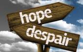 Hope x Despair creative sign with clouds as the background — Stock Photo