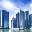 Urban landscape of Singapore. Skyline and modern skyscrapers of business district Marina Bay Sands at most financial developing Asian city state. — Stock Photo #54763131
