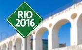Rio 2016 green sign in Rio de Janeiro, Brazil — Stock Photo
