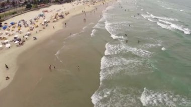 Aerial view of a beach on the summer — Stockvideo