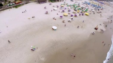 Aerial view of a beach on the summer — Stock Video