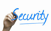 Security hand writing with a blue mark on a transparent board — Photo