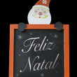 Christmas Blackboard written Merry Christmas (Portuguese: Feliz Natal) — 图库照片 #57647909