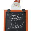 Christmas Blackboard written Merry Christmas (Portuguese: Feliz Natal) — Стоковое фото #57647935