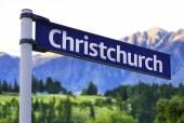 Christchurch sign on a beautiful landscape background — Foto de Stock