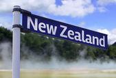 New Zealand sign on a beautiful landscape background — Stock Photo