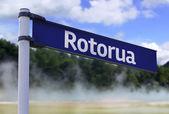 Rotorua, New Zealand sign on a beautiful landscape background — Stock Photo