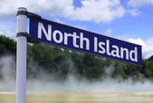 North Island, New Zealand sign on a beautiful landscape background — Foto de Stock