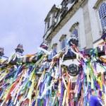 Wall of wish ribbons blowing in the wind at the famous Igreja Nosso Senhor do Bonfim da Bahia church in Salvador Bahia, Brazil. — Stock Photo #58348185