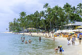 BAHIA, BRAZIL - CIRCA NOV 2014: People enjoy a sunny day at Praia do Forte (Forte Beach) in Bahia, Brazil. — Stock Photo