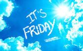 Its Friday written on a beautiful sky — Stock Photo