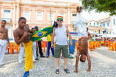 BAHIA, BRAZIL - CIRCA NOV 2014: A group of people playing Capoeira. Capoeira is a Brazilian martial art that combines elements of dance, acrobatics and music, and is sometimes referred to as a game. — Stock Photo