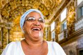A Brazilian woman of African descent, smiling, wearing traditional clothes in Salvador, Bahia — Stock Photo