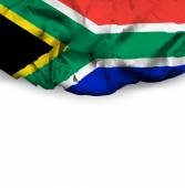 South Africa waving flag on white background — Foto Stock