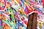 Cute couple finger in christmas theme on colorful background — Foto de Stock