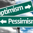 Optimism x Pessimism creative sign with clouds as the background — Stock Photo #59023003