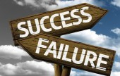 Success x Failure creative sign with clouds as the background — Stock fotografie