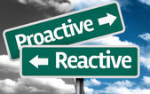 Proactive x Reactive creative sign with clouds as the background — 图库照片