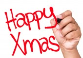 Happy Xmas written on a transparent board — Stock Photo