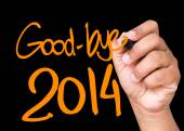Good-Bye 2014 written on a transparent board — Stock Photo