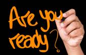Are You Ready written on a transparent board — Stock Photo
