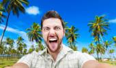Happy young man taking a selfie photo in the Northeast of Brazil — Stock Photo