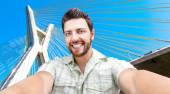 Happy young man taking a selfie photo in Sao Paulo, Brazil — Stock Photo