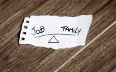 Job x Family written on the paper — Stock Photo
